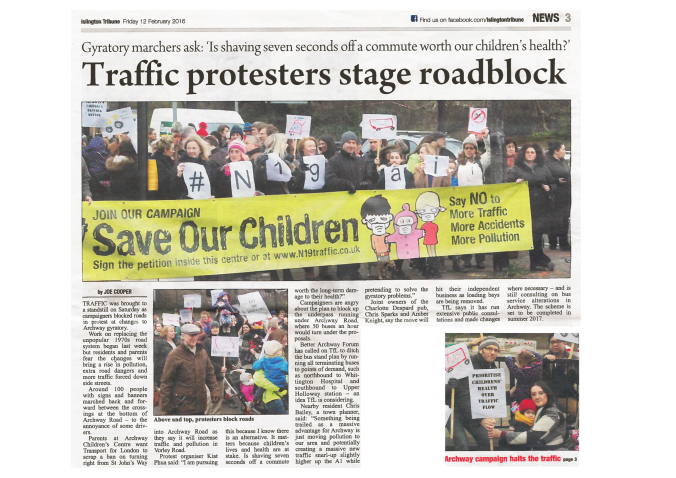 Islington Tribune puts Archway Protest on Front Page